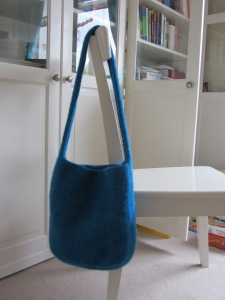 Blue felted handbag