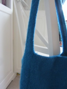 Blue felt handbag detail