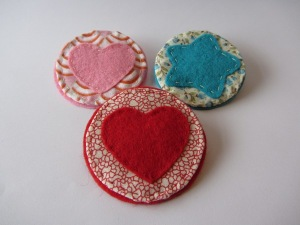 Felt and fabric brooches, various designs