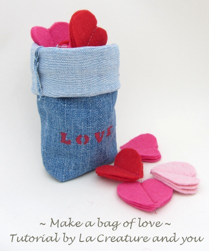 Bag of love - filled with felt hearts
