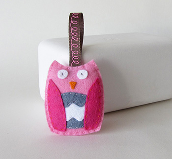 Pink felt owl ornament