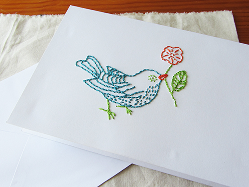 Embroidered birdie card tutorial la creature and you